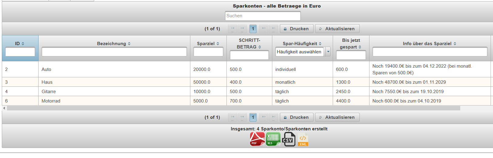 Screenshot showing savings function