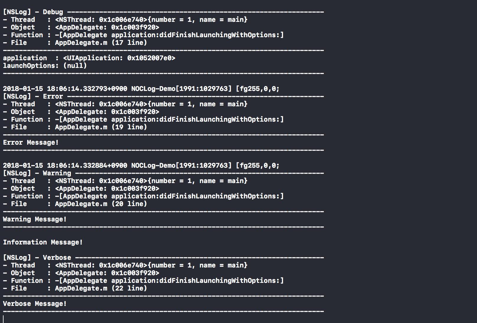 Sample log output