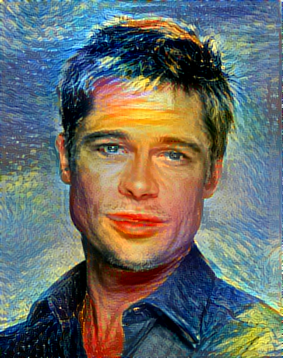 Output image, style transfer from starry night and the scream styles transferred onto a picture of brad pitt