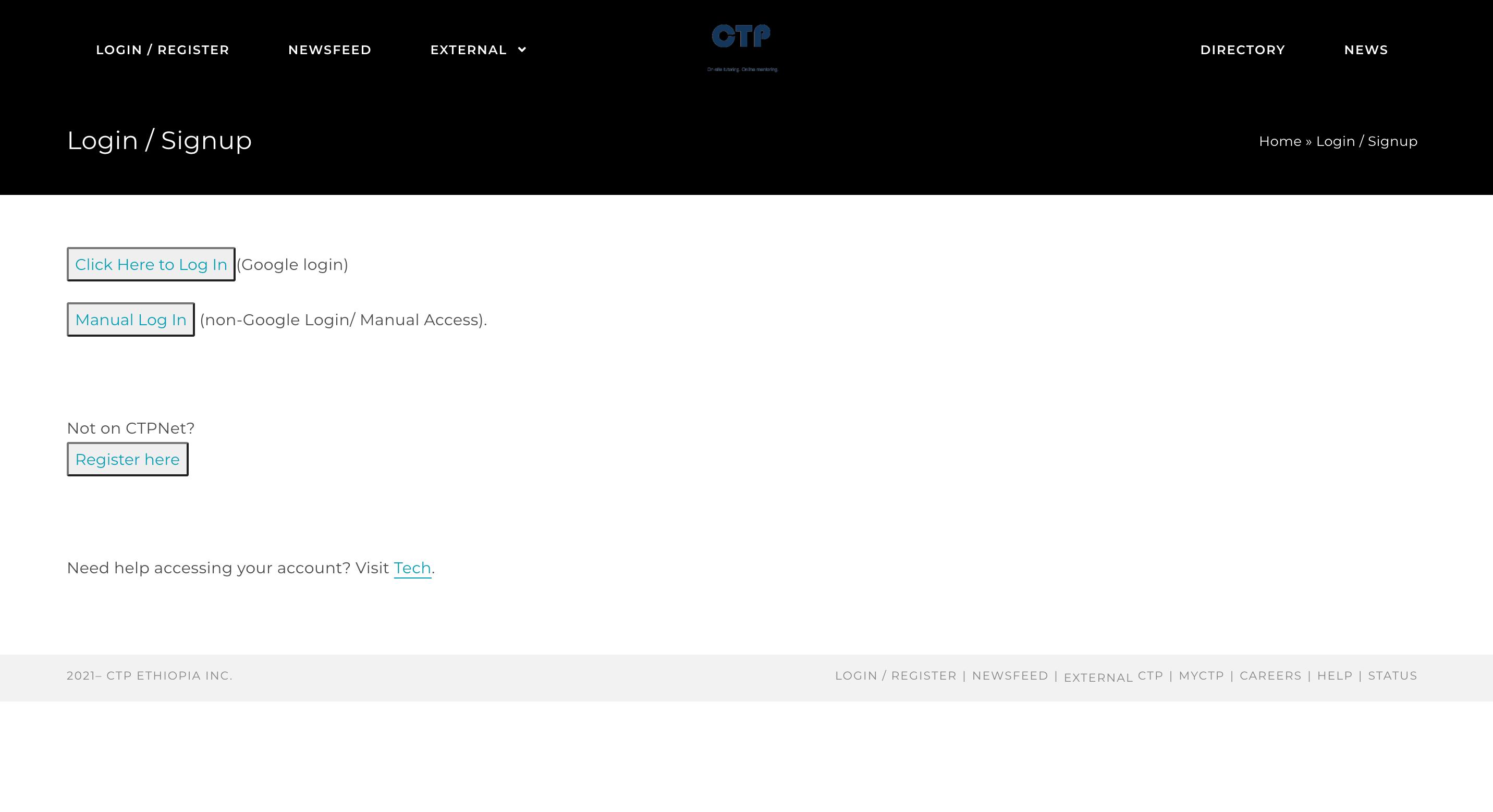 CTPNet Login Page Screenshot
