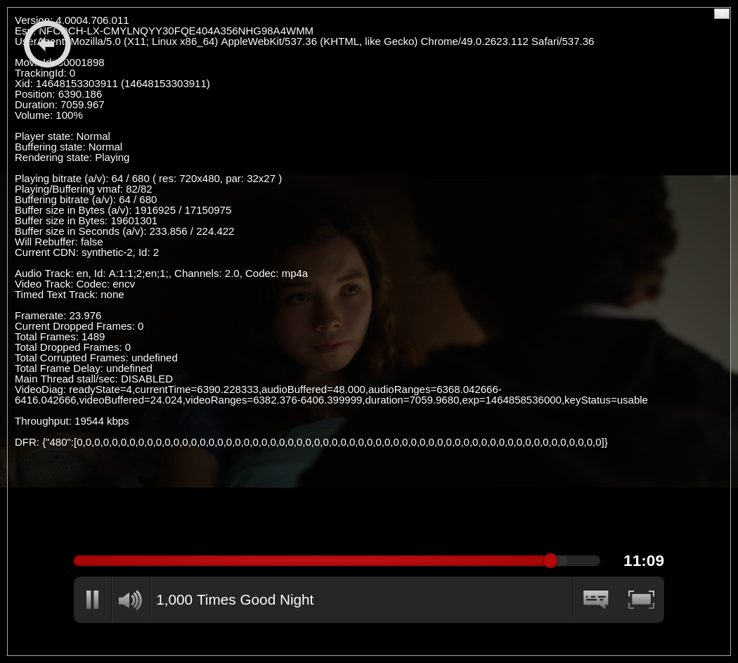 Netflix VideoPlaybackTest screenshot