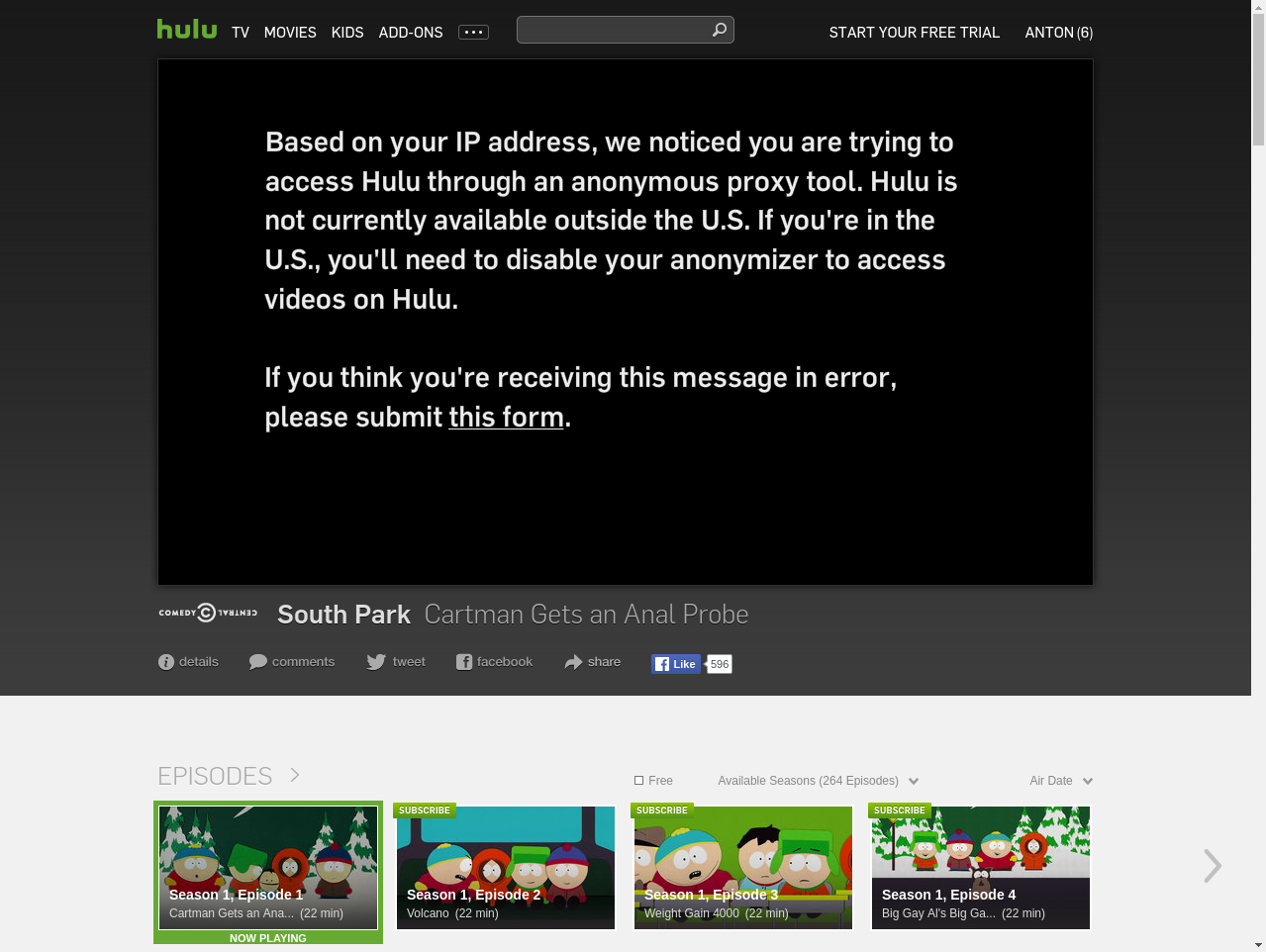 Hulu VideoPlaybackTest screenshot