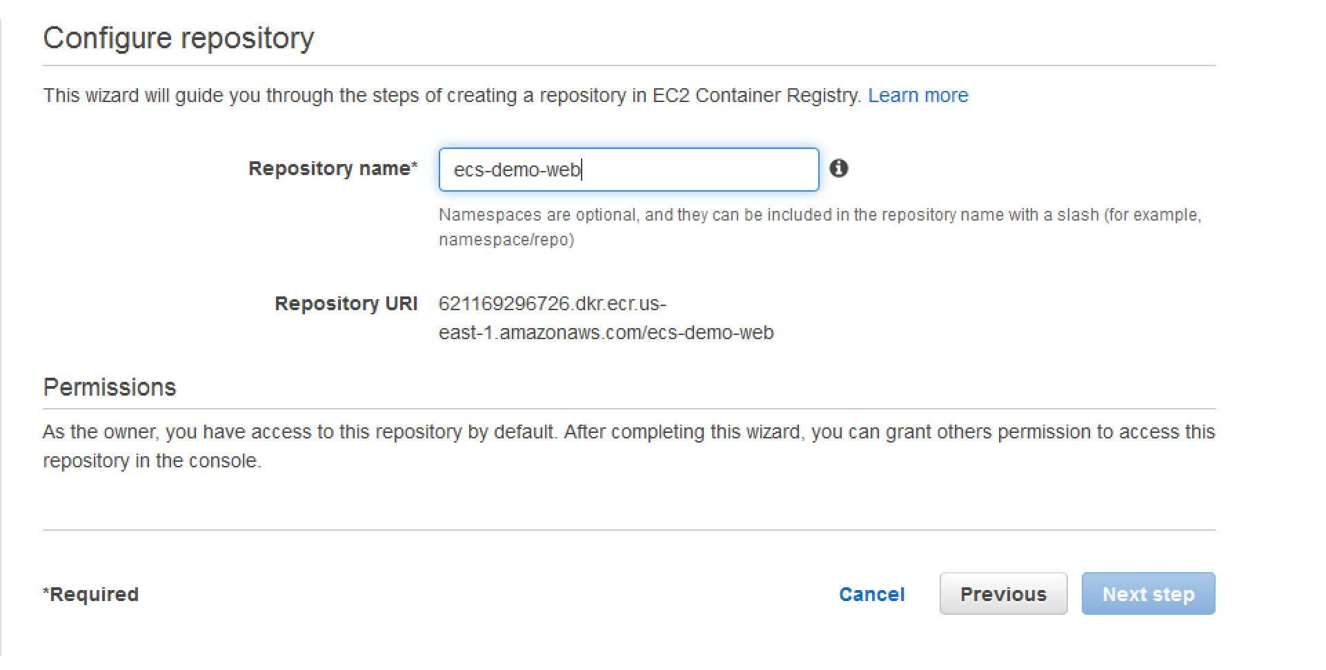 create ecr repository