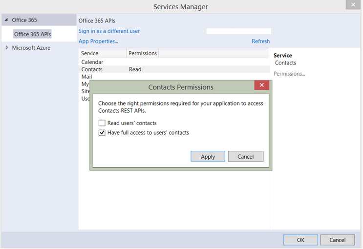 O365 permission scopes for contacts dialog