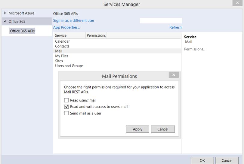 O365 permission scopes for mail tenet dialog