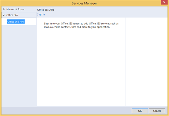 O365 Services Manager dialog sign in