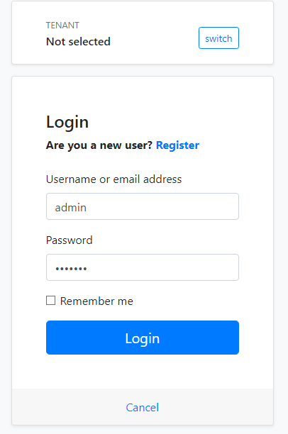 login with admin username and 1q2w3E* password.