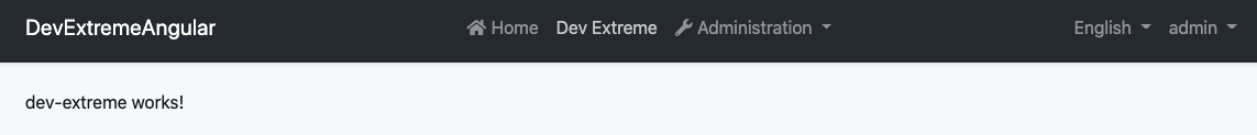 A screenshot showing a page that says dev-extreme works!