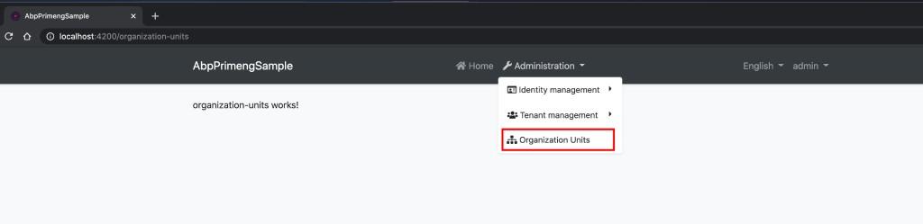 organization units menu navigation item