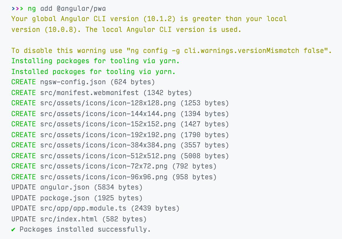 Angular PWA updates and creates files