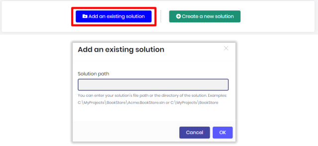 Add an existing solution