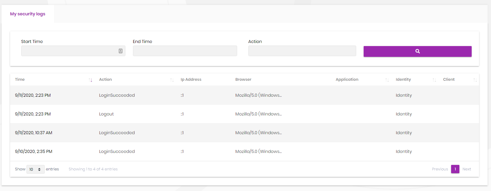 identity-security-logs-ui-my-logs-page