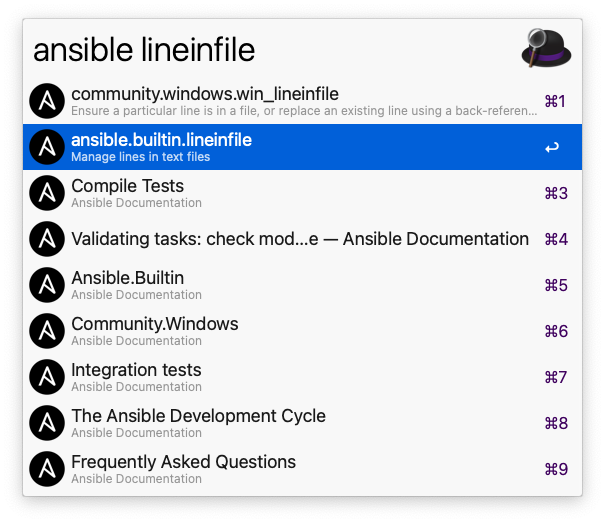 Workflow searching for lineinfile