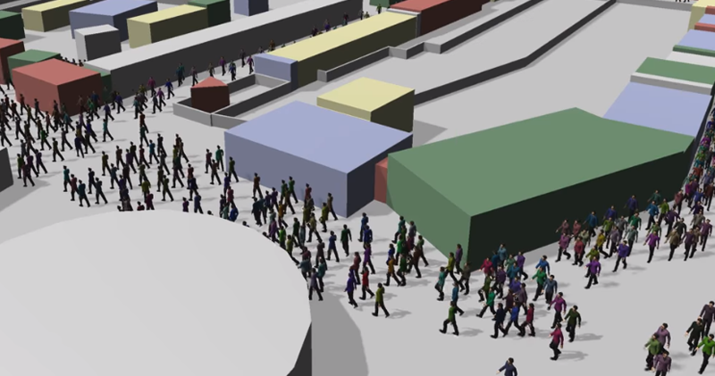 Screenshot: Post-Visualization of a crowd simulation done for Hanse Sail