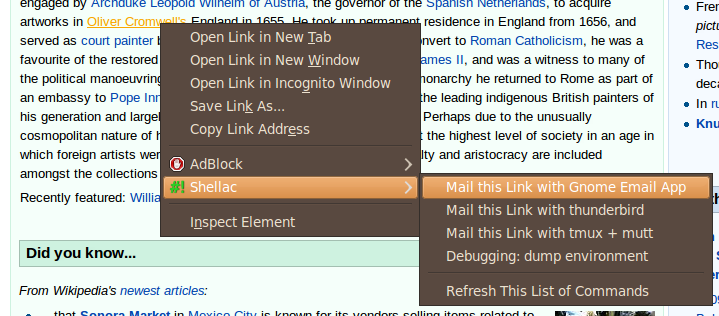 Shellac link context menu