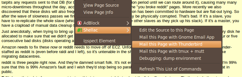 Shellac page context menu