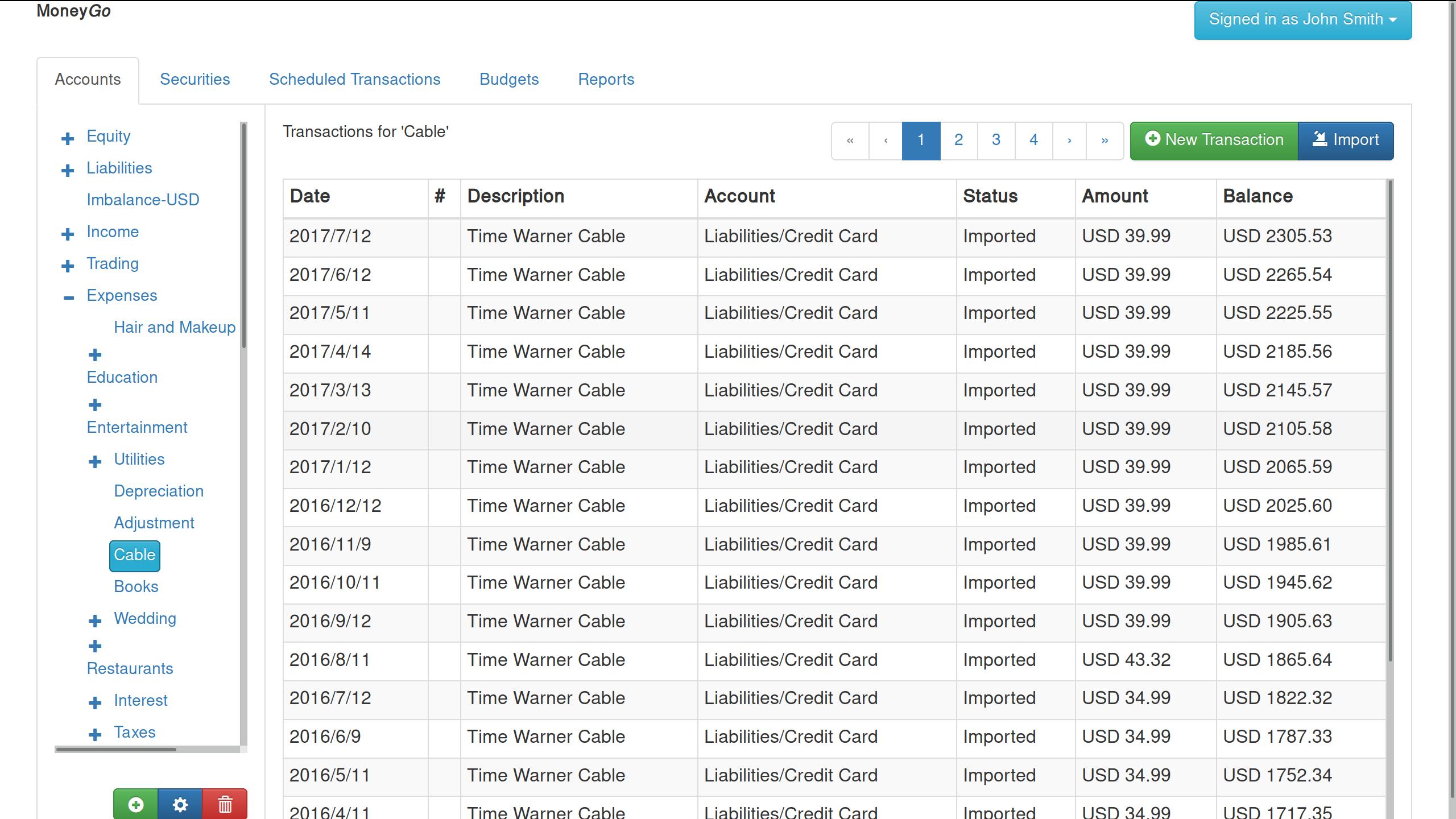 Transaction Register