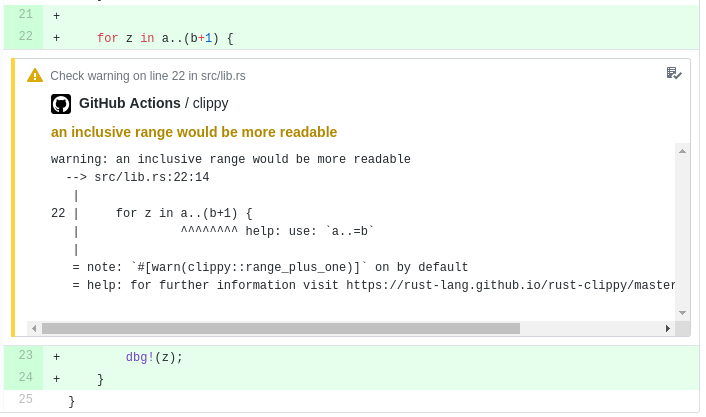 Screenshot of clippy-check