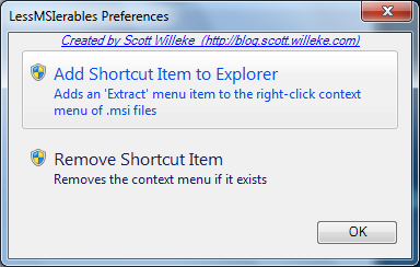 lessmsi Preferences Dialog screenshot