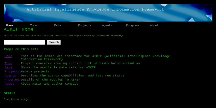 screenshot of web interface