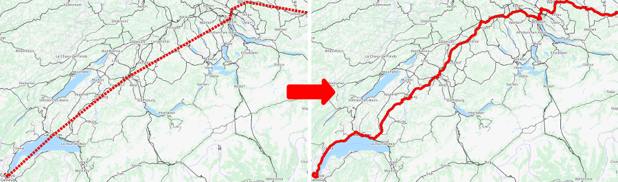 Left: station-to-station path of a single train through Switzerland obtained from schedule timetable data. Right: path of the same train map-matched by pfaedle.
