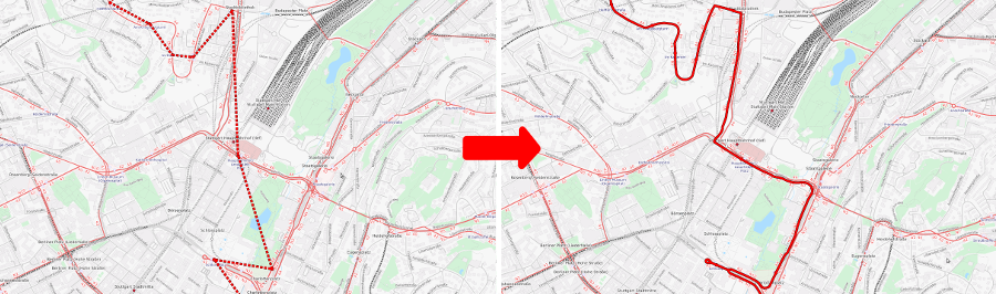 Left: station-to-station path of a single bus through Stuttgart obtained from official schedule data. Right: path of the same bus map-matched by pfaedle.