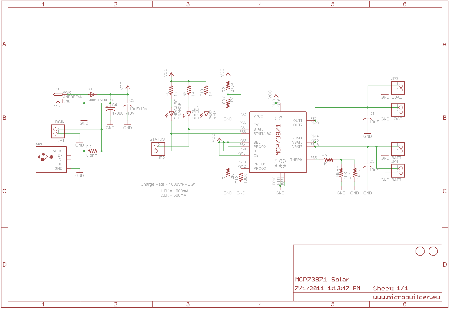 Adafruit Customer Service Forums View Topic Usb Dc Solar Circuit Diagram This Lithium Battery Charger Is Dedicated To The Schematic Here Get A 1a Charge Rate Change R11 From 2k 1k