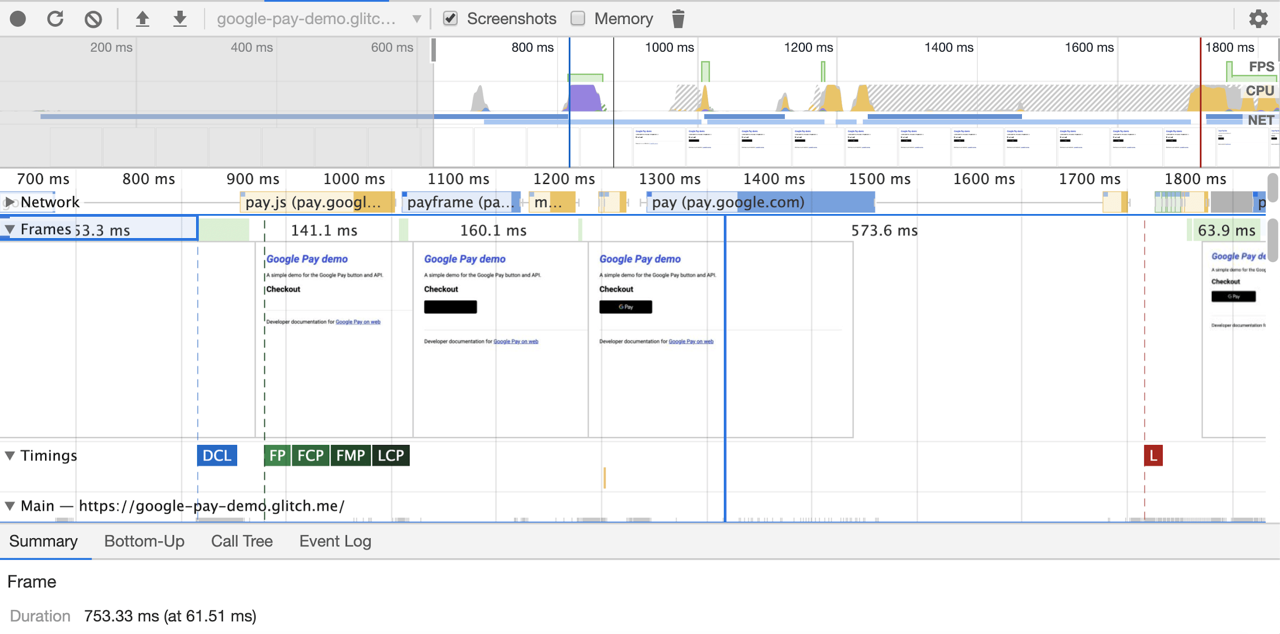DevTools screenshots in the performance panel