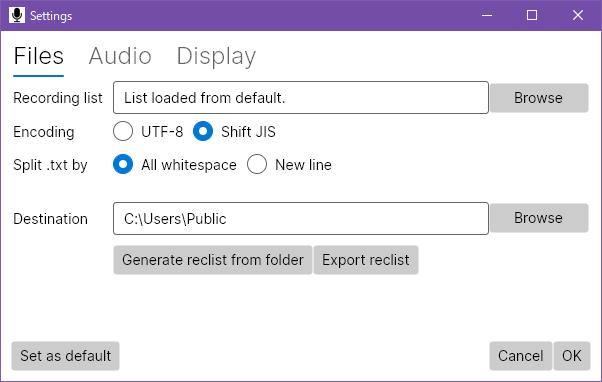 File settings screenshot