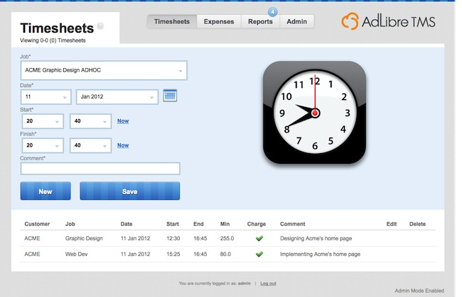 Adlibre Timesheet Management System - Timesheets