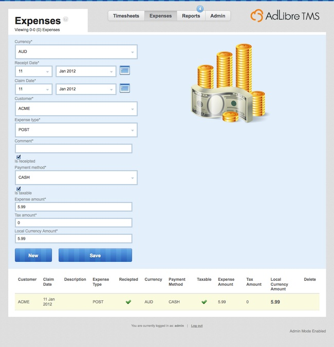 Adlibre Timesheet Management System - Expenses