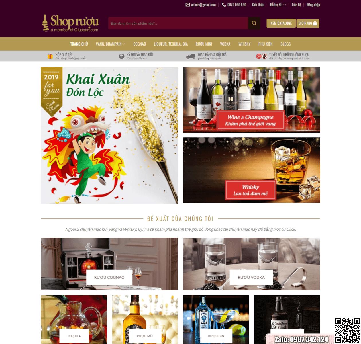 Mẫu web bán rượu thumbnail
