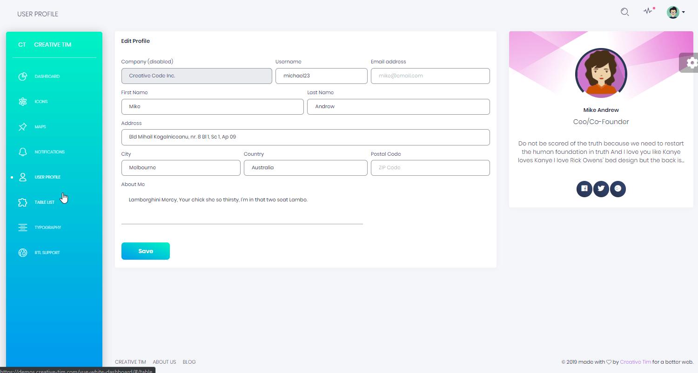 Vue Dashboard White - Free Vuejs Admin Dashboard, App screen 1.