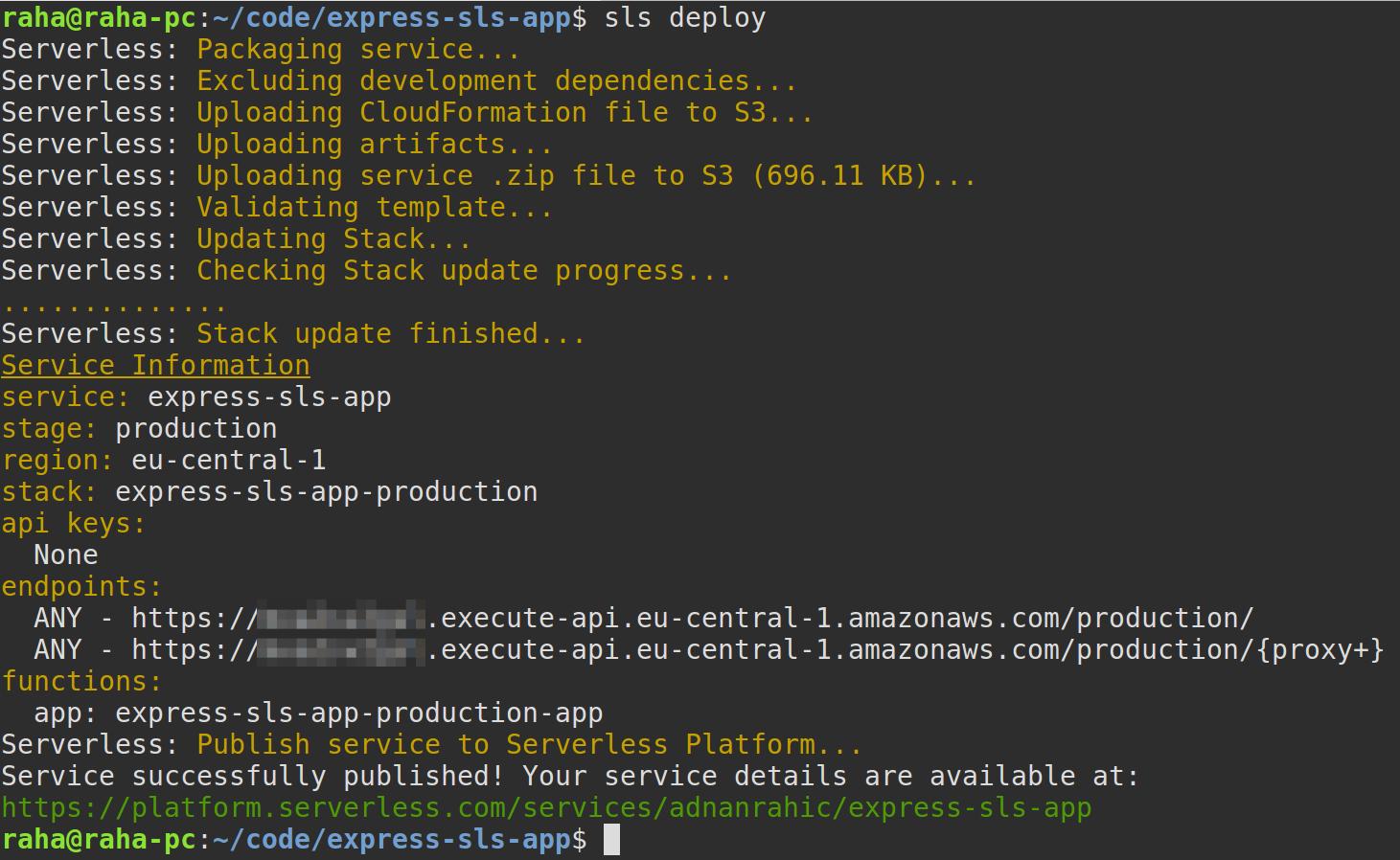 terminal show sls deploy output