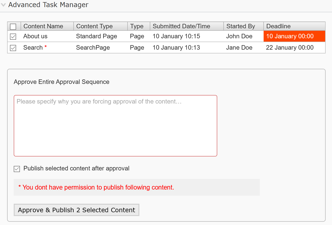 Publish content after approval