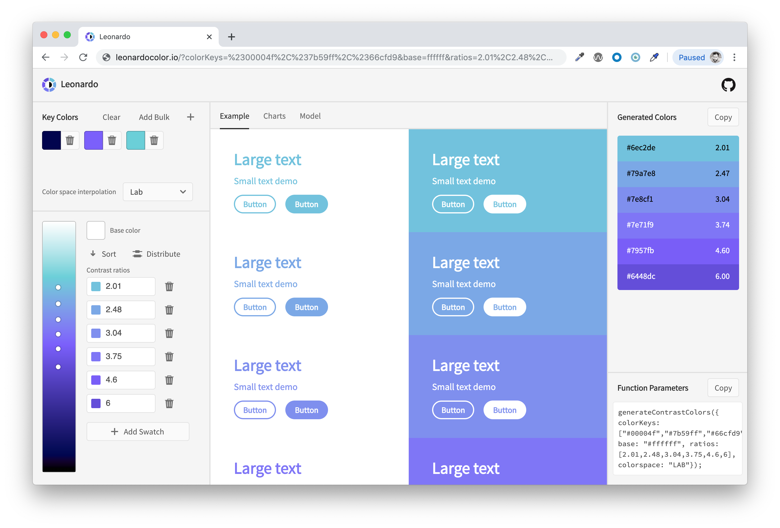Leonardo web app with color inputs, interpolated gradient, contrast ratio input, and demo of colors applied to text and a button.