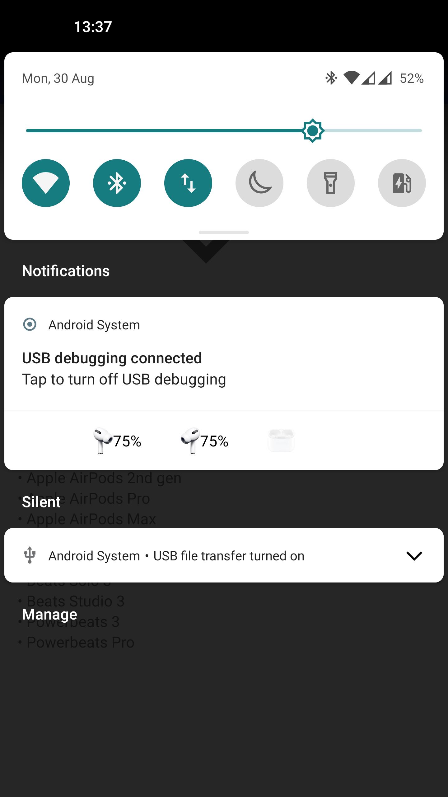 Screenshot: notification