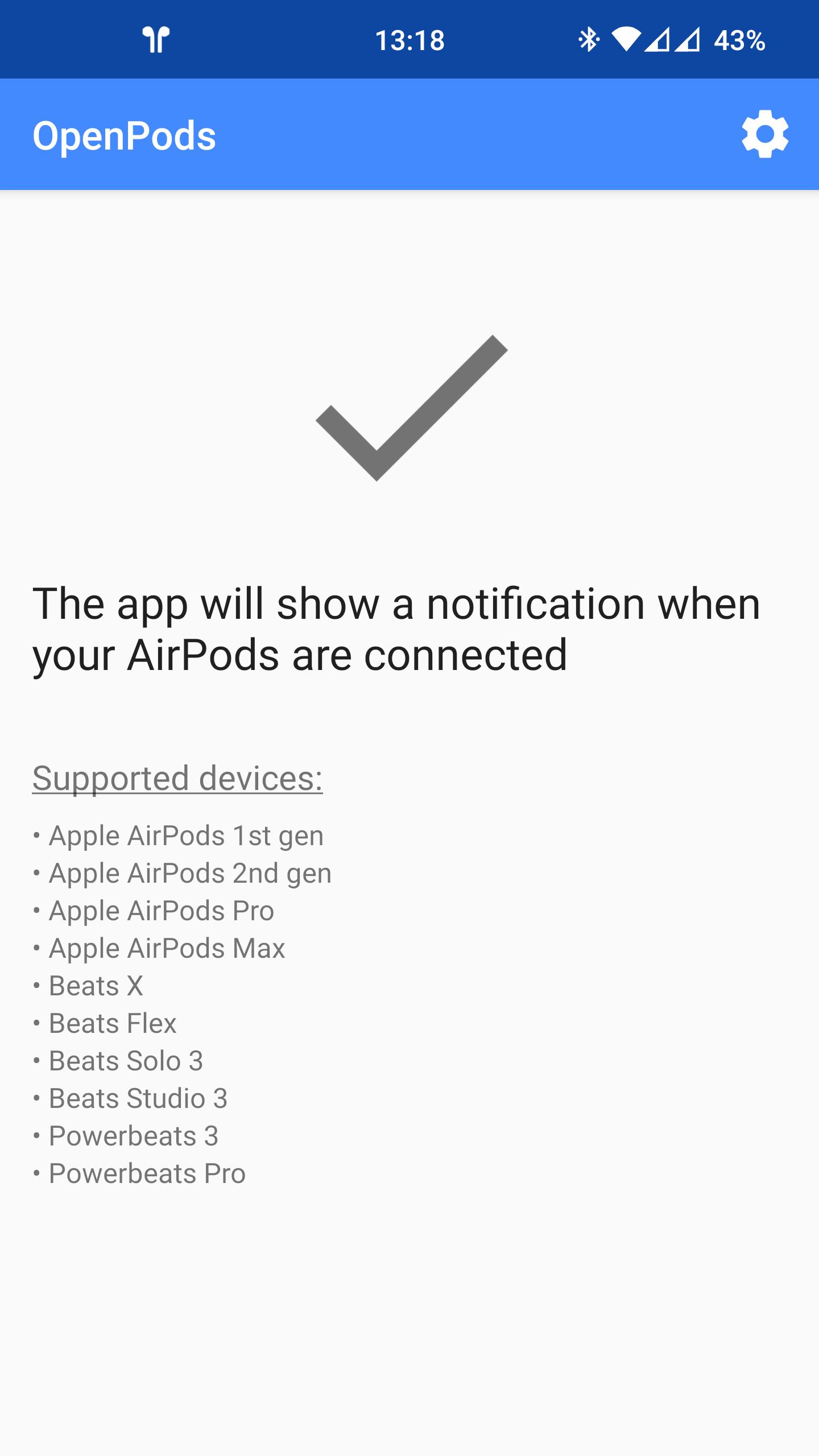 Screenshot: main app