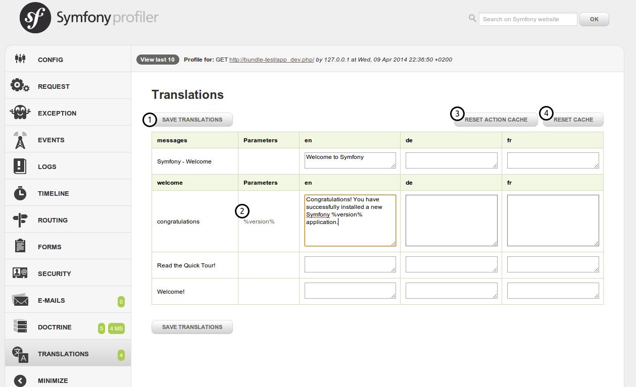 Translations panel