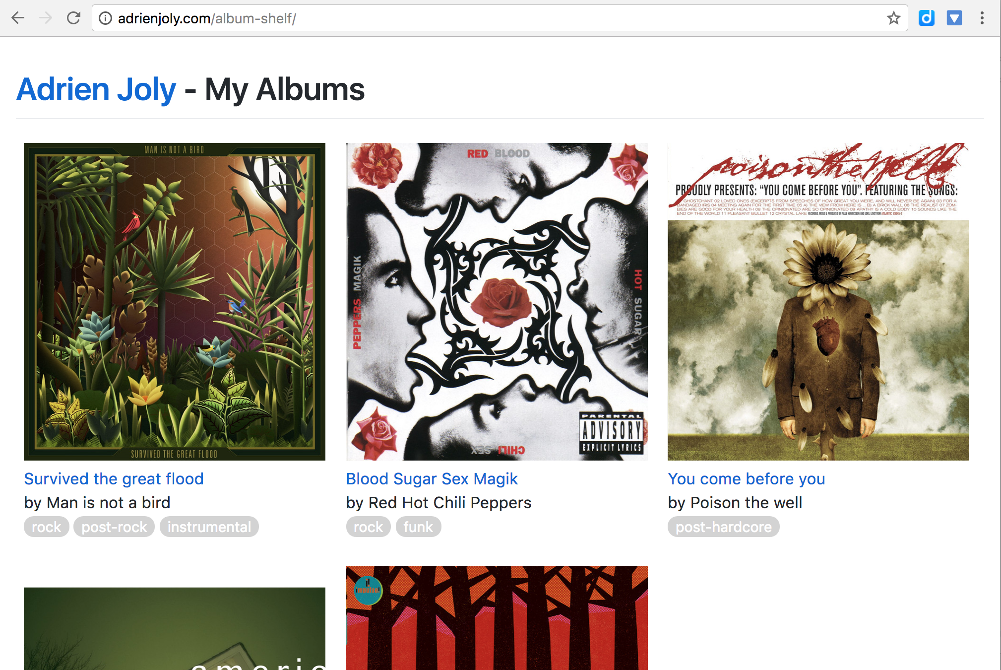 collection of albums screenshot
