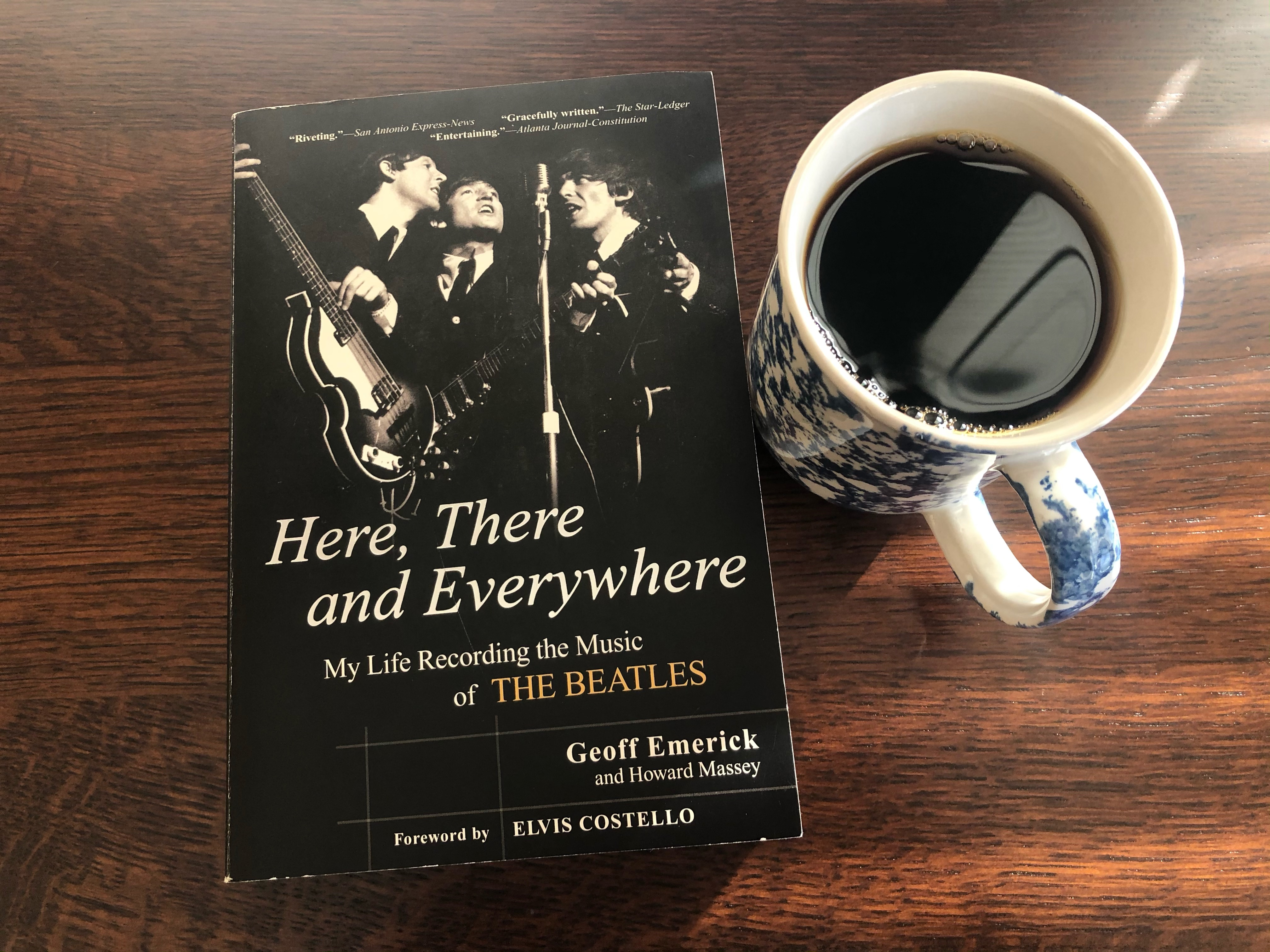 Here, There and Everywhere by Geoff Emerick book and a cup of coffee