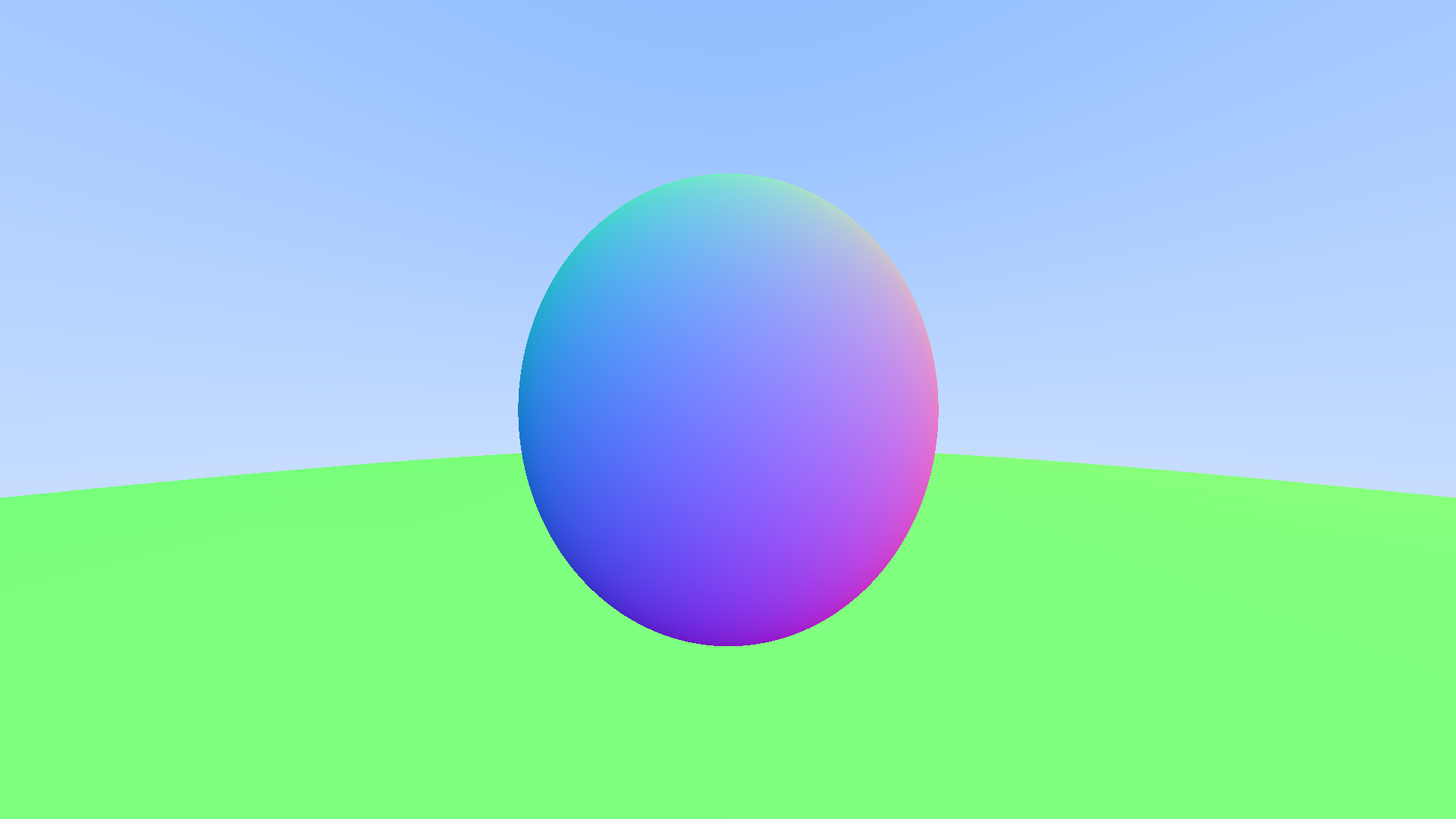 Spheres shaded by their normals with no antialiasing