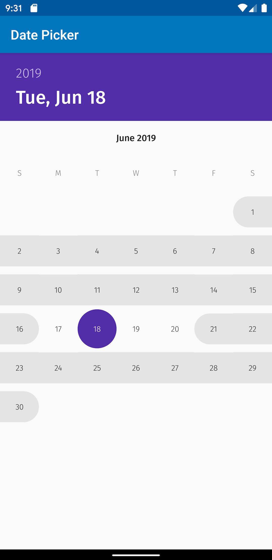Custom responsive date picker widget for Android