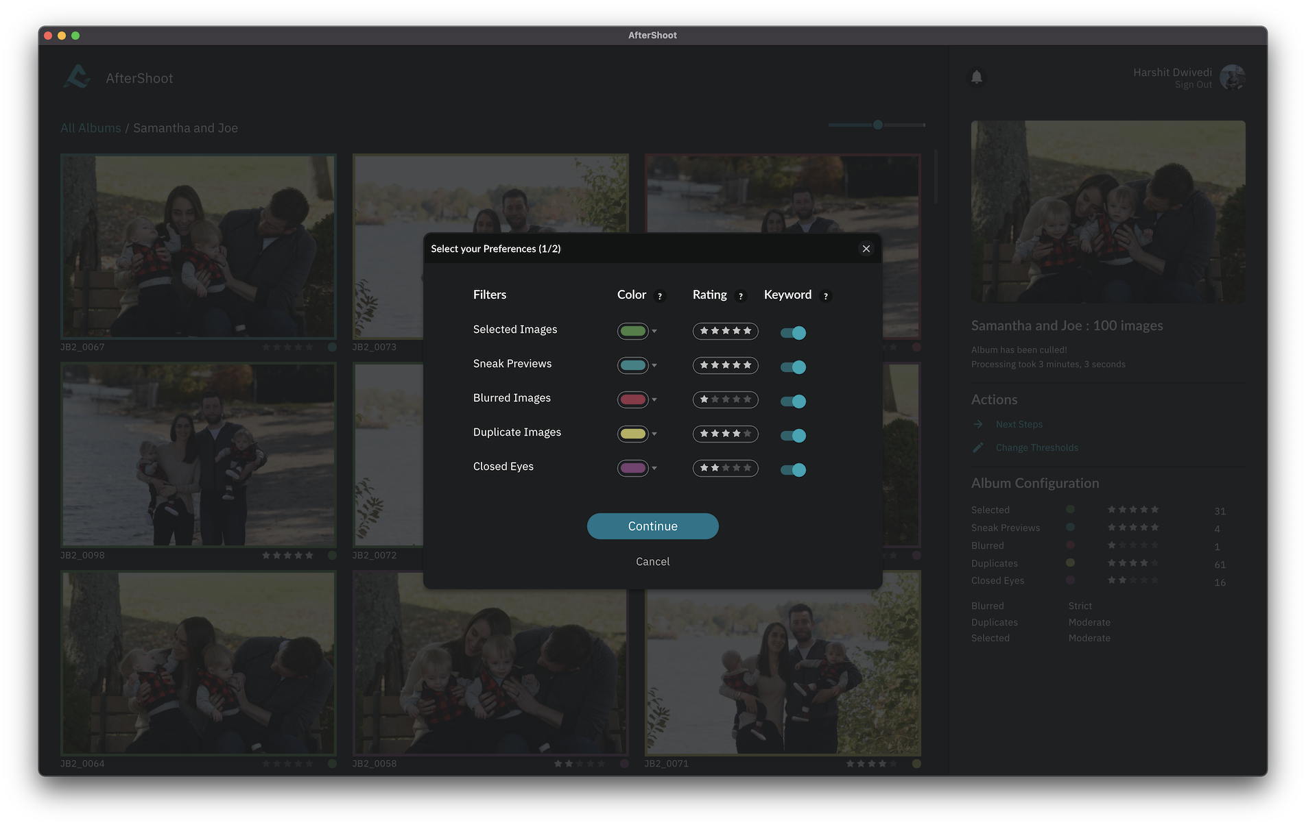 Screenshot of AfterShoot Photos in Project screen