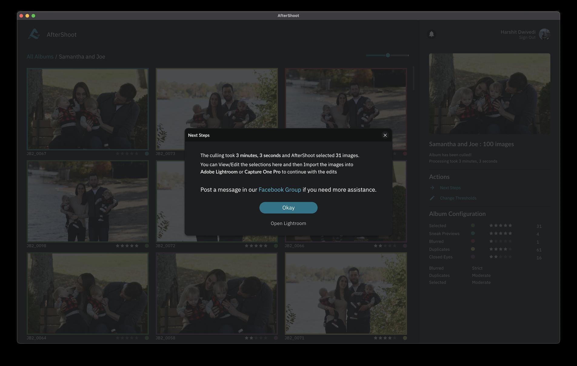 Screenshot of AfterShoot screen