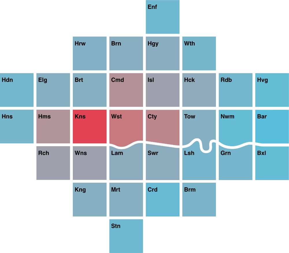 a simple and colourful cartogram of London