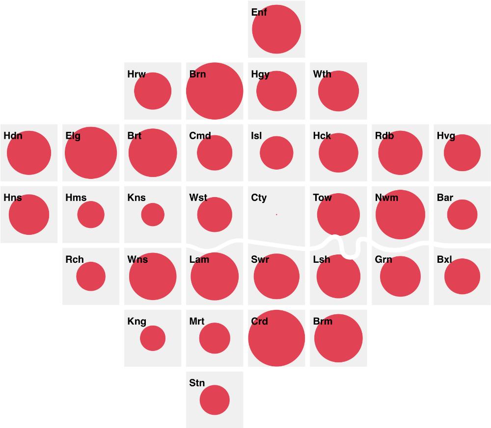 a cartogram showing a single variable visualised as circles