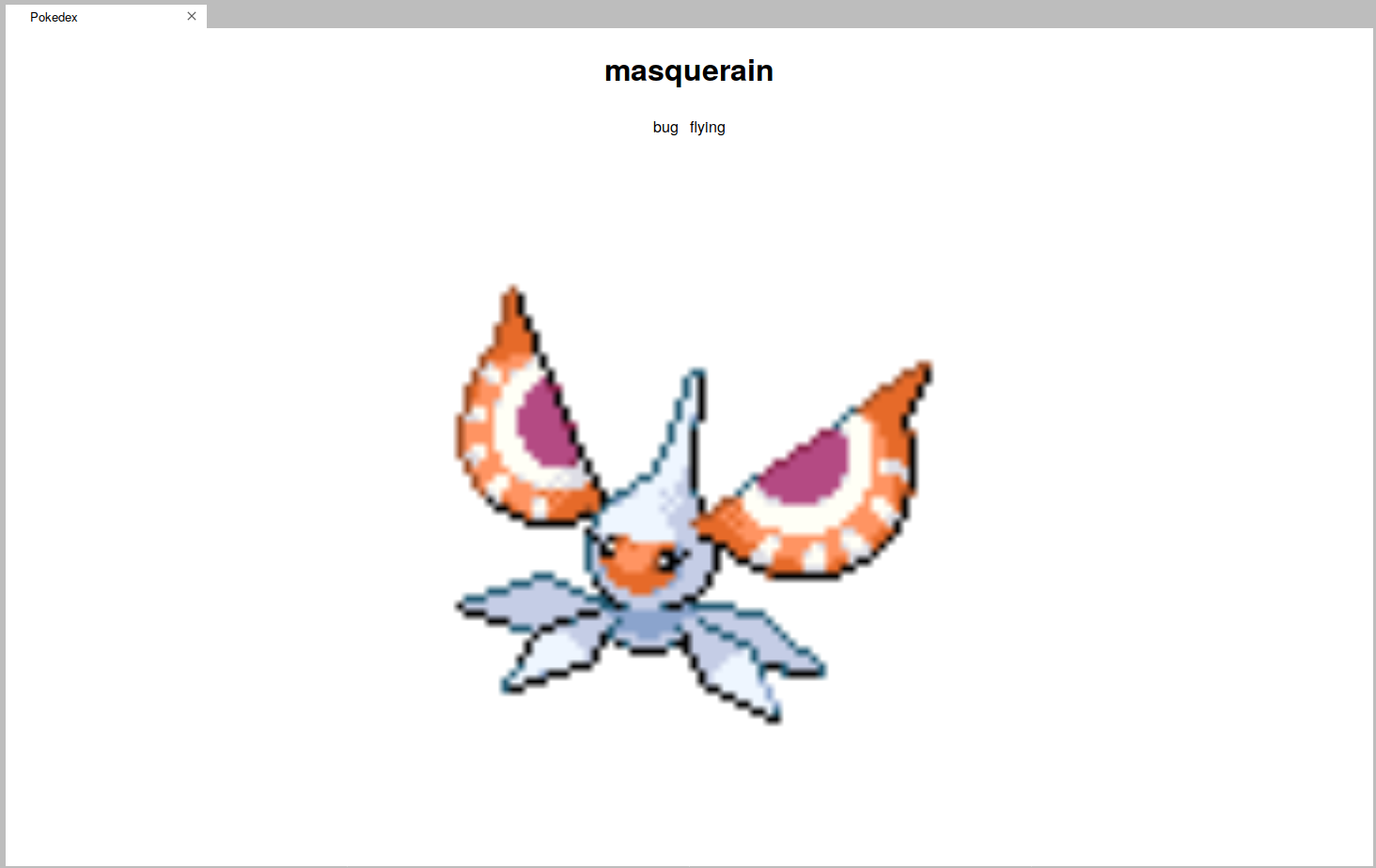 Demo image showing the pokedex entry of Masquerain