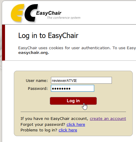Easychair Login