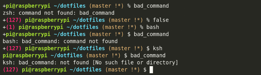 Exit status displayed in zsh, bash, and ksh